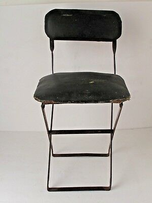 Vintage Modernist Folding Small Iron and Oil Cloth Childs Chair