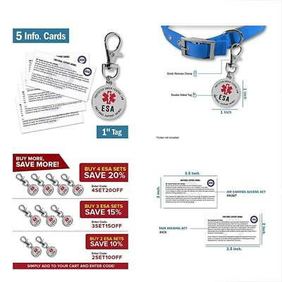Emotional Support Dog Esa Tag 1 Small Breed Pet Id Tags W/ 5 Info Cards Gift New