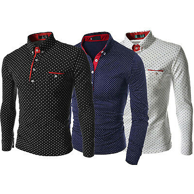 Men's Casual Long Sleeve Spot T Shirts Slim Fit Polo Neck Cotton Business Tops
