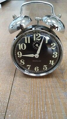 Vintage Westclox Chrome Twin Bell Wind-up Alarm Clock Glow in Dark Made Brazil