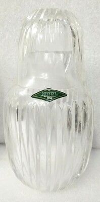 Vtg Sealed NOS Shannon Poland Ribbed Crystal Bedside Decanter Carafe Tumbler Cup