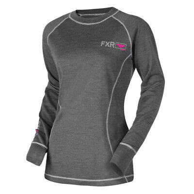 FXR - Vapour 50% Merino Charcoal/Fuchsia Women Long Sleeves Top - Small