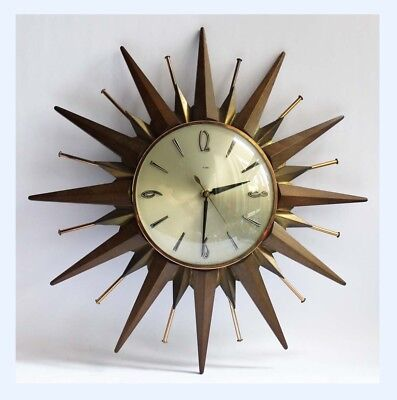 Vintage Retro Metamec Sunburst Wall Clock / Starburst Brass Atomic MCM Display