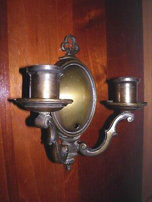 Antique, old electric, double arm, heavy solid brass wall sconce. Needs rewiring