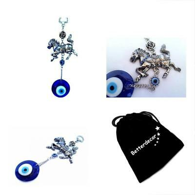 Blue Evil Eye With Tribute Horse Hanging Decoration Ornament With A Bett New New