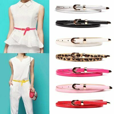 Fashion Women Lady Girl Skinny Waist Belt Thin Faux Leather Narrow Waistband