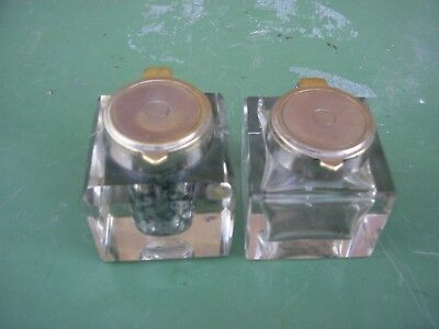 2 Antique Silver & Brass Flip Top  Ink Wells Almost A Pair But One 2 Cm Higher