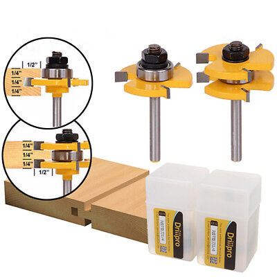 2 Frese incastri maschio femmina Tongue & Groove Router Bit Set 1/4 Inch Shank