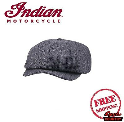 Genuine Indian Motorcycle Baker Boy Hat Cap Gray Wool Poly Blend New Scout Chief