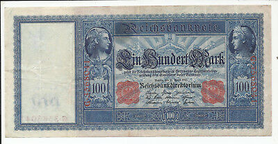 1910 German Empire 100 Mark Large Size Reichs Bank Note FREE SHIPPING
