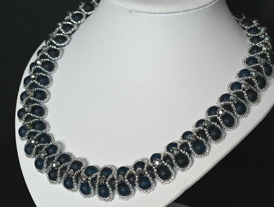 Pearl & seed beaded women PRINCESS necklace VINTAGE style BLUE/SILVER 19