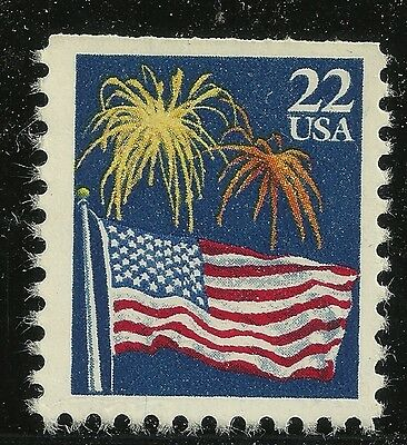 US Scott #2276v, Single 1987 American Flag 22c FVF MNH