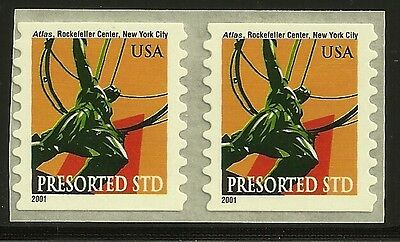 US Scott #3520, PAIR 2001 Atlas 10c VF MNH