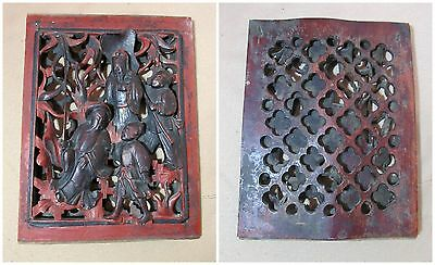 antique hand carved ornate lacquered wood Chinese figural wall panel sculpture