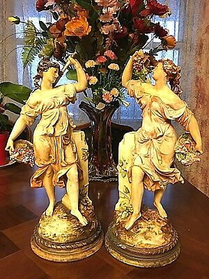 "Italian Classical ceramic Sculptures of a Yong  Ladies 15.5"" tall with grape"