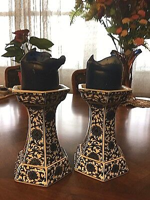 "Pair of Blue & White Ornate Porcelain 7"" Tall Candle Holders"