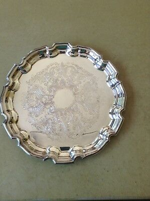Vintage Towle Silverplate Round Serving Platter Tray Scalloped Edge EP 4033