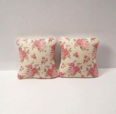 Miniature Decorative Throw Pillows Shabby Chic Pink Flowers Dollhouse Diggs 1:12