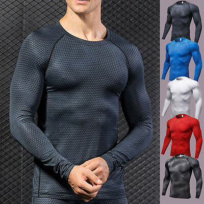 Men's Compression T Shirt Long Sleeve Tights Base Layer Body Armour Thermal Tops