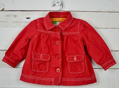 Girls BABY GAP Sz 12 18m Red Light Weight Coat Jacket Floral Lined Button Down