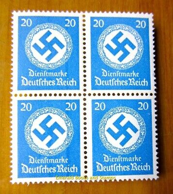 EBS Germany 1942 20 Pfennig Official Swastika Dienst BLOCK 4 Michel 174 MNH**