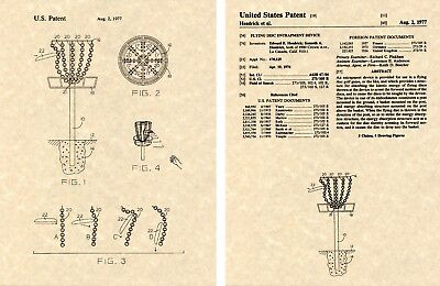 DISC GOLF GOAL US PATENT Art Print READY TO FRAME PDGA target frisbee