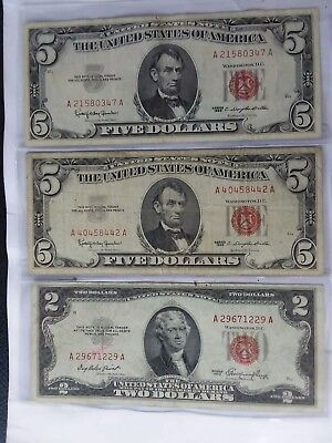 Red Seal Notes 3 : two $5 1963 And A $2 1963