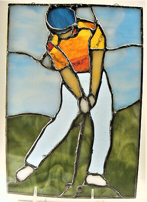 Vintage Leaded Stained Glass Panel Window Suncatcher Golfer Golfing Man