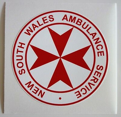 OBSOLETE NEW SOUTH WALES AMBULANCE SERVICE STICKER DECAL 93mm
