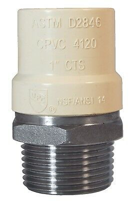 Legend Valve 302-435 / 1-inch MNPT x CPVC Stainless Steel Transition Fitting