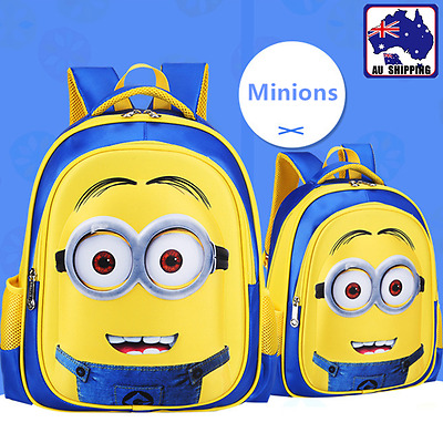 3D Minions Schoolbag Children Kids Pupil Yellow Cartoon Backpack Gift SBBA588