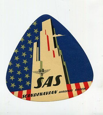 Vintage Airline Luggage Label SAS SCANDINAVIAN AIRLINES triangle USA skyscraper