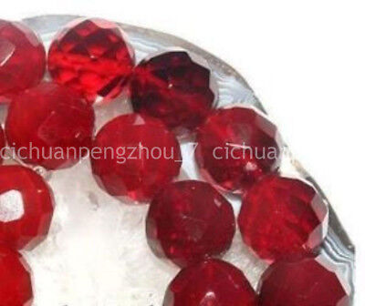 Natural 6mm Faceted Red Ruby Gems Round Loose Beads Gemstone 15'' AAA