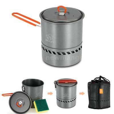 1.5L Portable Heat Collecting Exchanger Pot Outdoor Camping Pot Kettle US G7W3