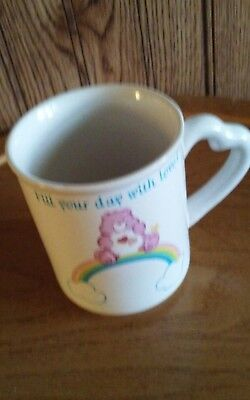 Care Bears Coffee Mug Cup Fill Your Day With Love Shaped Handle Vintage