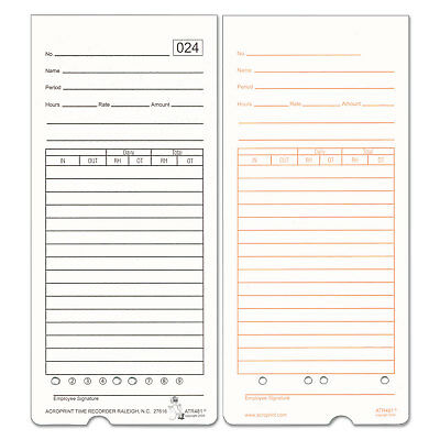 Time Card for ATR480 Totalizing Electronic Time Clock, 7 1/2 x 3.35, 50 per pack