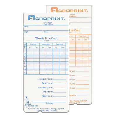 Weekly Time Cards for ATR240 and ATR360, 250/Pack