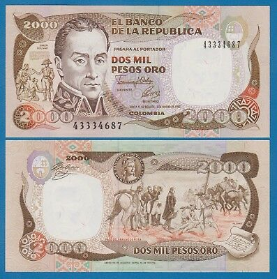 Colombia 2000 Pesos P 433Aa 1992 UNC Low Shipping! Combine FREE! (P- 433 A a)