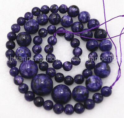 Natural 6-14mm Purple Sugilite Round Jewelry Loose beads 17 inch Hot Sale
