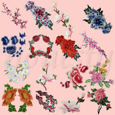 Floral Flower Applique Badge Embroidered Floral Sew on Patch Bust Dress Craft
