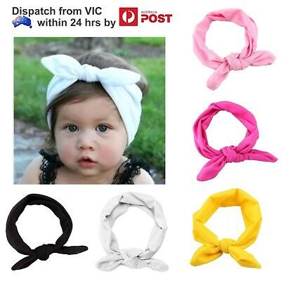 Girls Kid Baby Toddler Headband Top Knot Hair Bow Band Headwrap Head Accessory