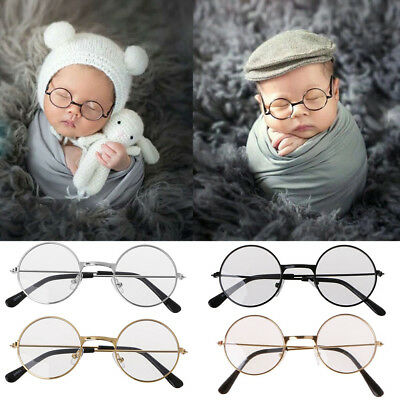 Boy Girl Baby Flat Glasses Newborn Photography Props Gentleman Studio Shoot