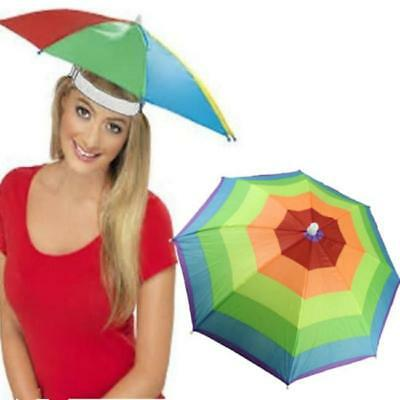 Rainbow Headwear Umbrella Hat Cap Beach Sun Rain Fishing Camping BS
