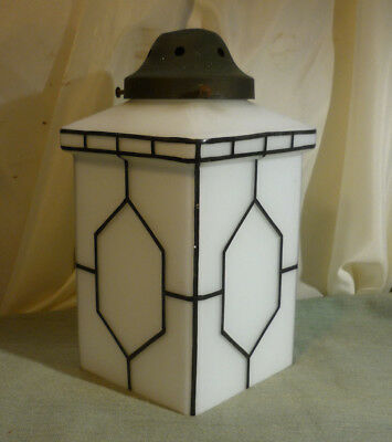 """Striking Art Deco Milk Glass Lampshade Black and White Carriage Lamp Style 9.5"""""""