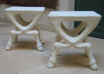 Exceptional Pair Of Hoffed Plaster Design Side Tables  / John Dickinson Style