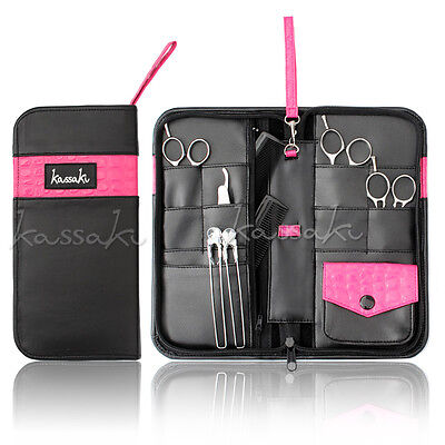 Kassaki Hairdressing Sturdy Scissor Case - Shears Combs Pouch -Holds 12 Scissors