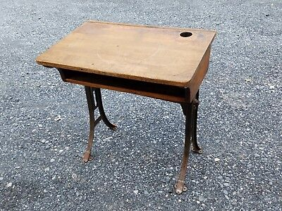 Vintage Antique Child's School Desk Wood Top Cast Iron Table Base Steampunk Old