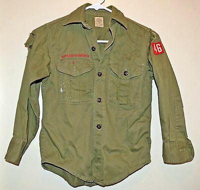 VINTAGE Child's Boy Scouts of America Uniform Shirt Olive Green BSA 1960s 1970s
