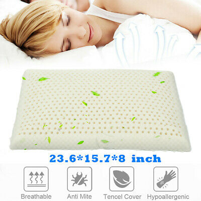 WHITE  Latex-Feel Foam Pillow - Ventilated Thermoregulating Bed Pillow