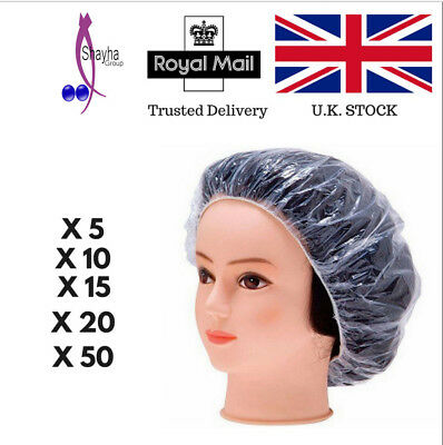 Disposable Shower Caps Bathing Elastic Clear Hair Care Protector 5,10,15,20,50